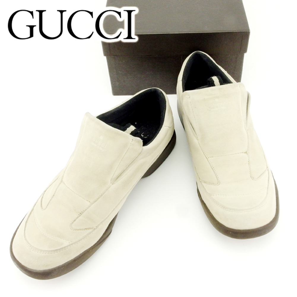 033ca020568f 【中古】 グッチ Gucci スリッポン シューズ 靴 レディース #37 ベージュ スエード 人気 セール T6913