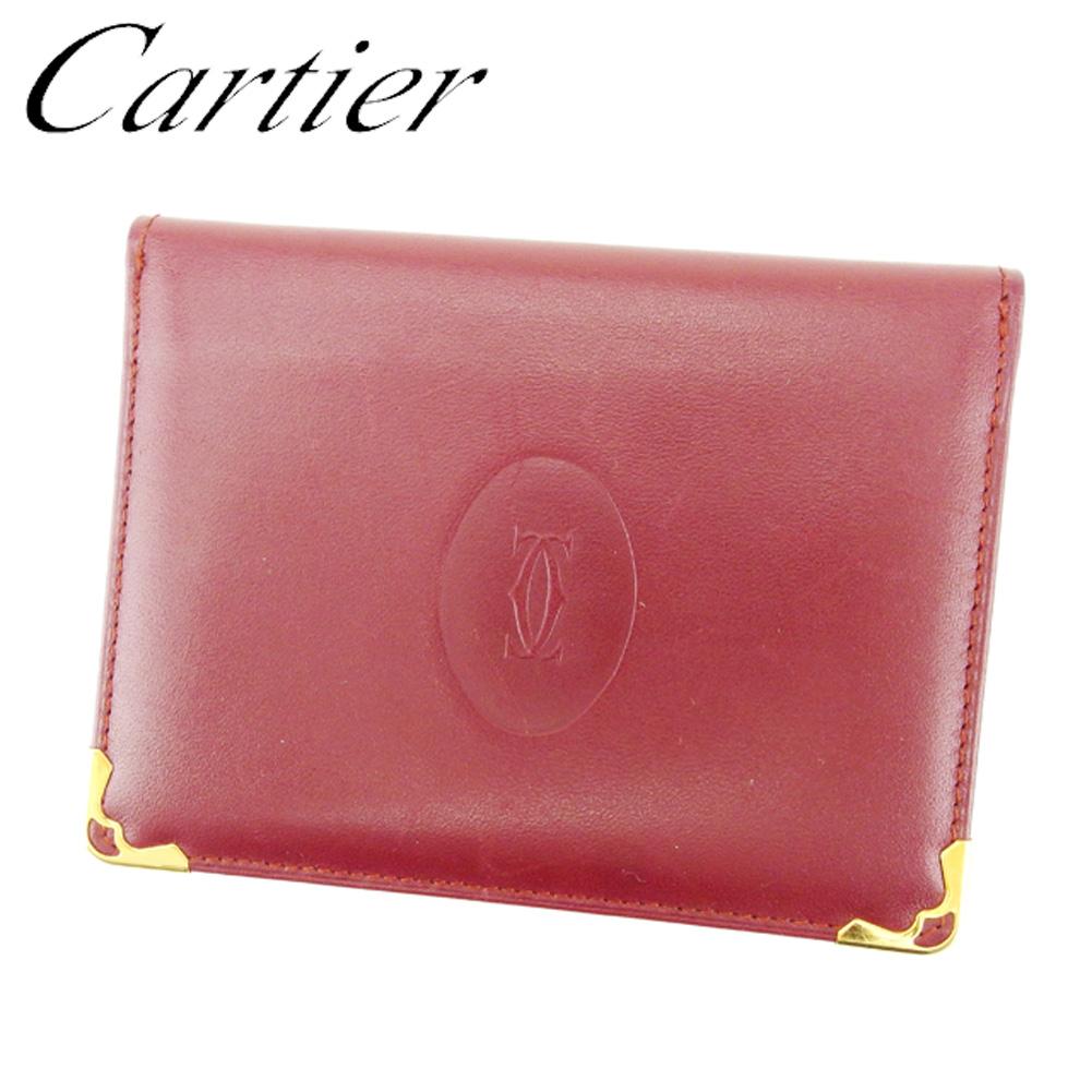 【中古】 カルティエ Cartier 定期入れ パスケース レディース メンズ 可 マストライン ボルドー レザー 人気 セール T6914 .