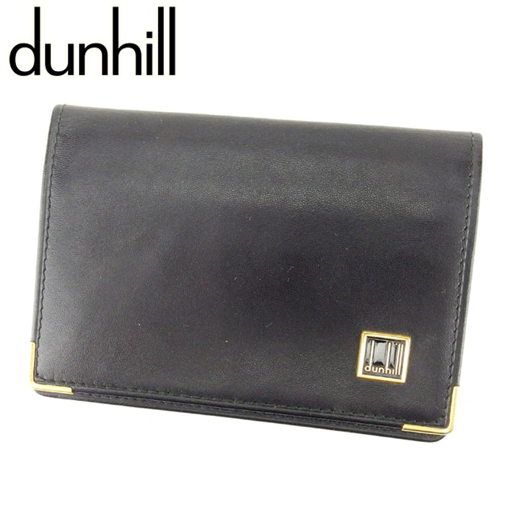【中古】 ダンヒル dunhill カードケース 名刺入れ メンズ ブラック レザー T6919 .