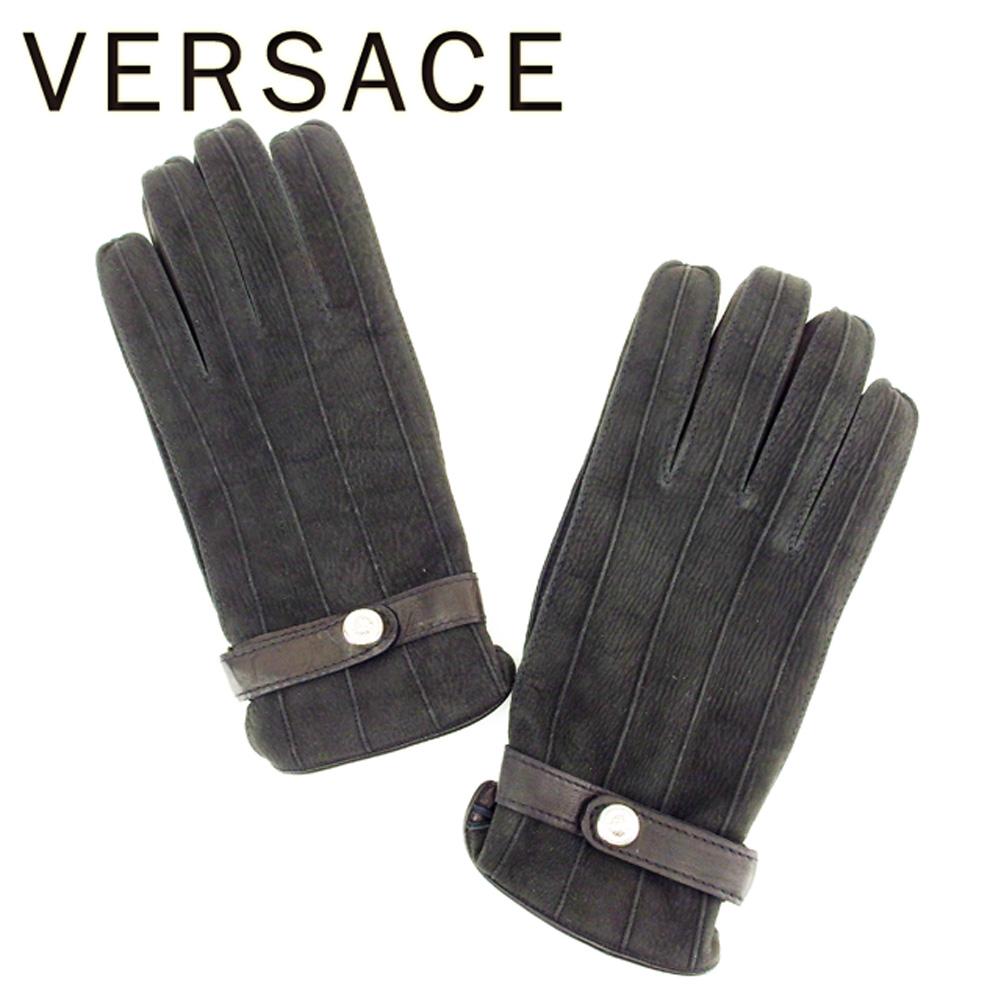 【中古】 ヴェルサーチ VERSACE 手袋 グローブ メンズ メドゥーサボタン ブラック シルバー スエード×レザー(裏地)ウール100% 美品 セール T6927 .