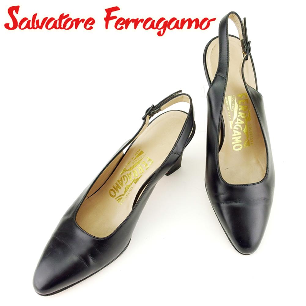 【中古】 サルヴァトーレ フェラガモ Salvatore Ferragamo パンプス シューズ 靴 レディース ♯5C スタックヒール スリングバック ブラック ゴールド レザー 人気 良品 T6989 .
