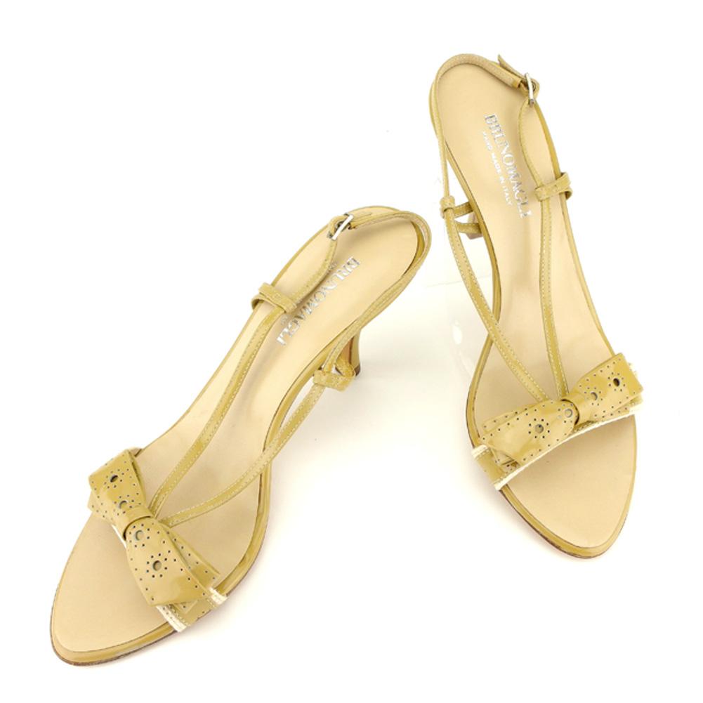 【中古】 ブルーノ マリ BRUNOMAGLI サンダル シューズ 靴 レディース ♯38スリングバック ベージュ シルバー エナメルレザー T6993