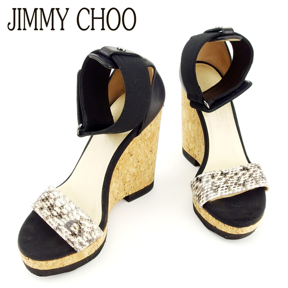 f62d6e39139 ジミーチュウ JIMMY CHOO sandals ankle strap shoes shoes Lady s ♯ 37 cork wedge  sole python strap black beige system python X canvas X leather beauty ...