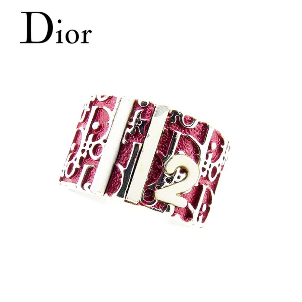 【中古】 ディオール Dior 指輪 リング アクセサリー レディース ♯8号 トロッター シルバー ピンク ホワイト 白 シルバー素材 良品 セール T7009