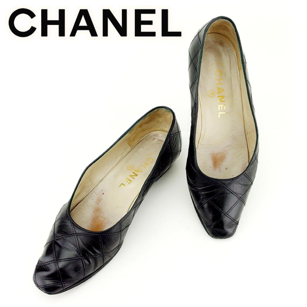 【中古】 シャネル CHANEL パンプス シューズ 靴 メンズ可 ♯36 マトラッセ ブラック レザー T7010