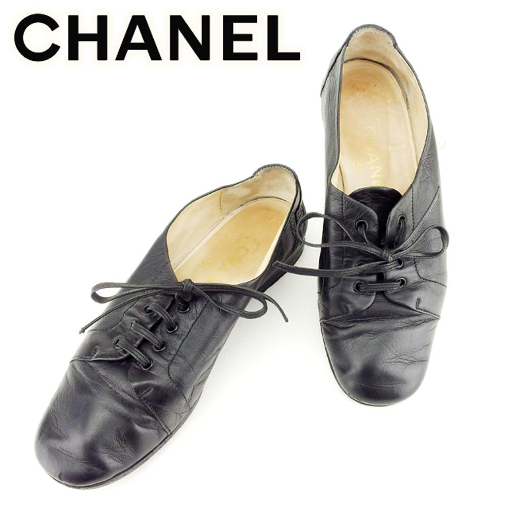 【中古】 シャネル CHANEL CHANEL CHANEL スニーカー シューズ 靴 レディース ♯36 ココマークステッチ ブラック レザー T7011 . 502