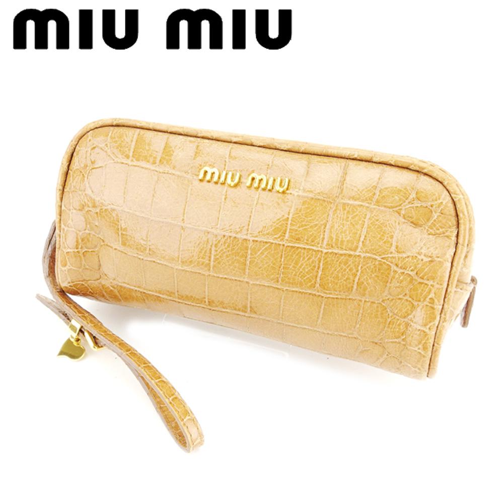 【中古】 ミュウミュウ miu miu ポーチ 化粧ポーチ レディース ライトブラウン ゴールド 型押しレザー T7015