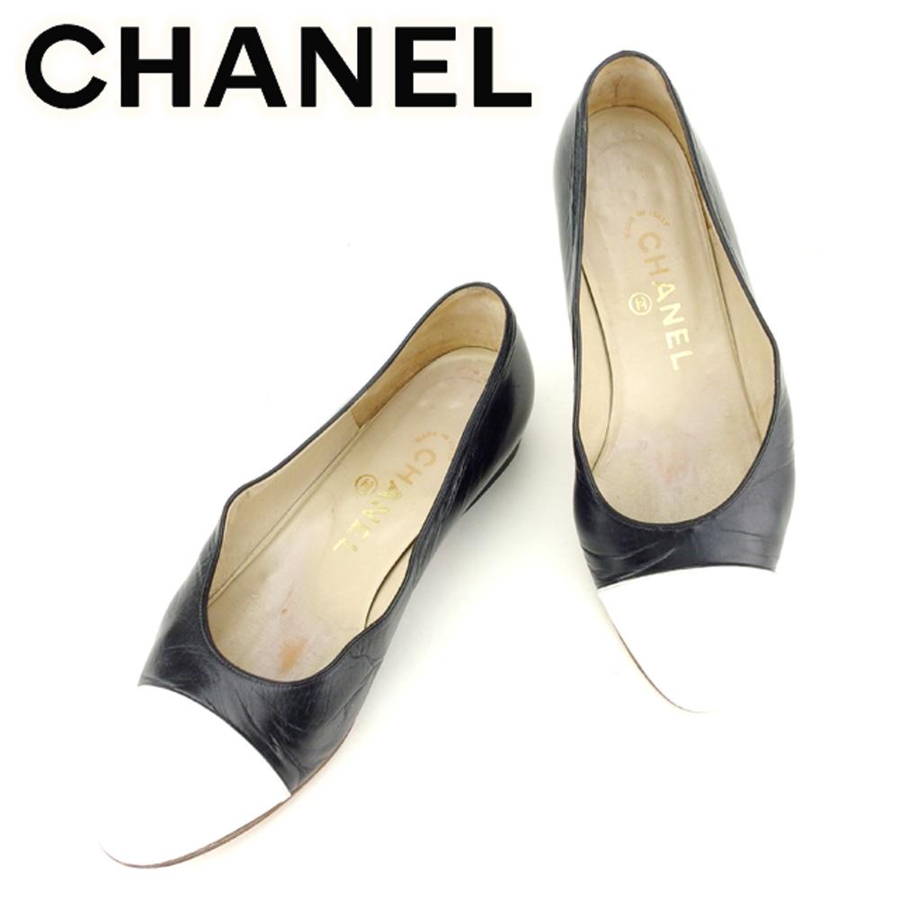 【中古】 シャネル CHANEL パンプス シューズ 靴 レディース ラウンドトゥ バイカラー ブラック ホワイト 白 レザー 人気 セール T7018 .
