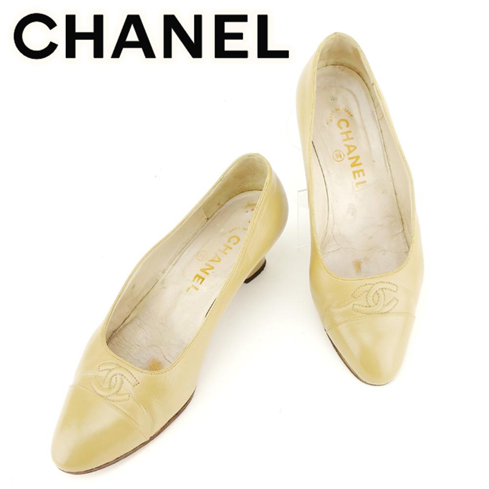 【中古】 シャネル CHANEL パンプス シューズ 靴 レディース ♯6 ラウンドトゥ ベージュ レザー T7019