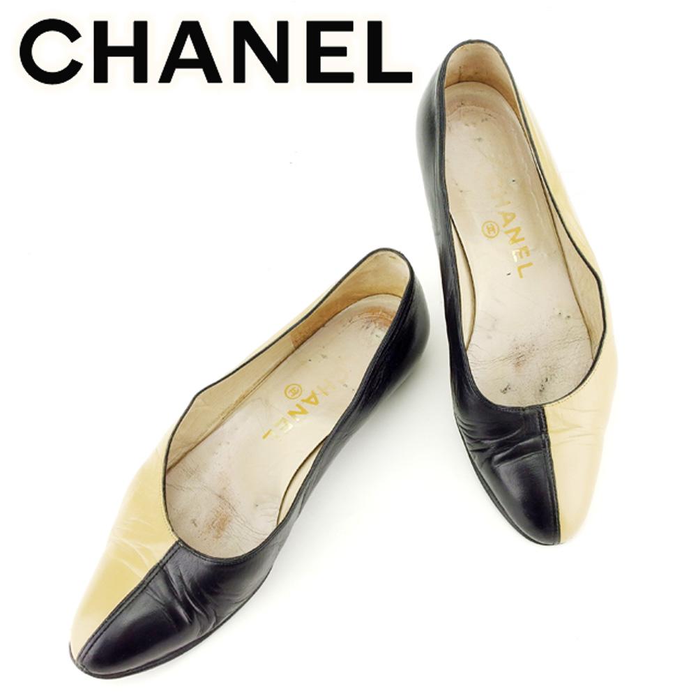 【中古】 シャネル CHANEL パンプス シューズ 靴 レディース ラウンドトゥ フラット ベージュ ブラック レザー T7026