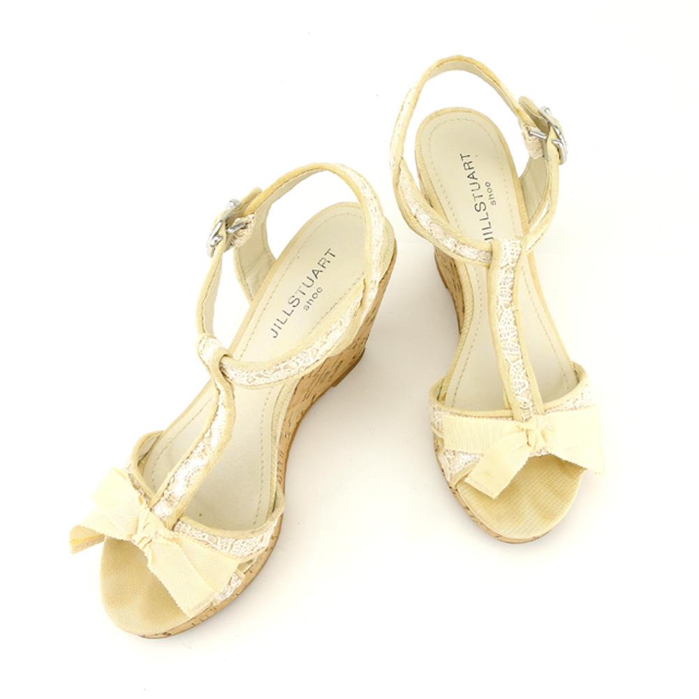 【中古】 ジルスチュアート シュー JILLSTUART shoe サンダル シューズ 靴 レディース ♯23 コルクウェッジソール ベージュ シルバー キャンバス×レース×コルク T7029