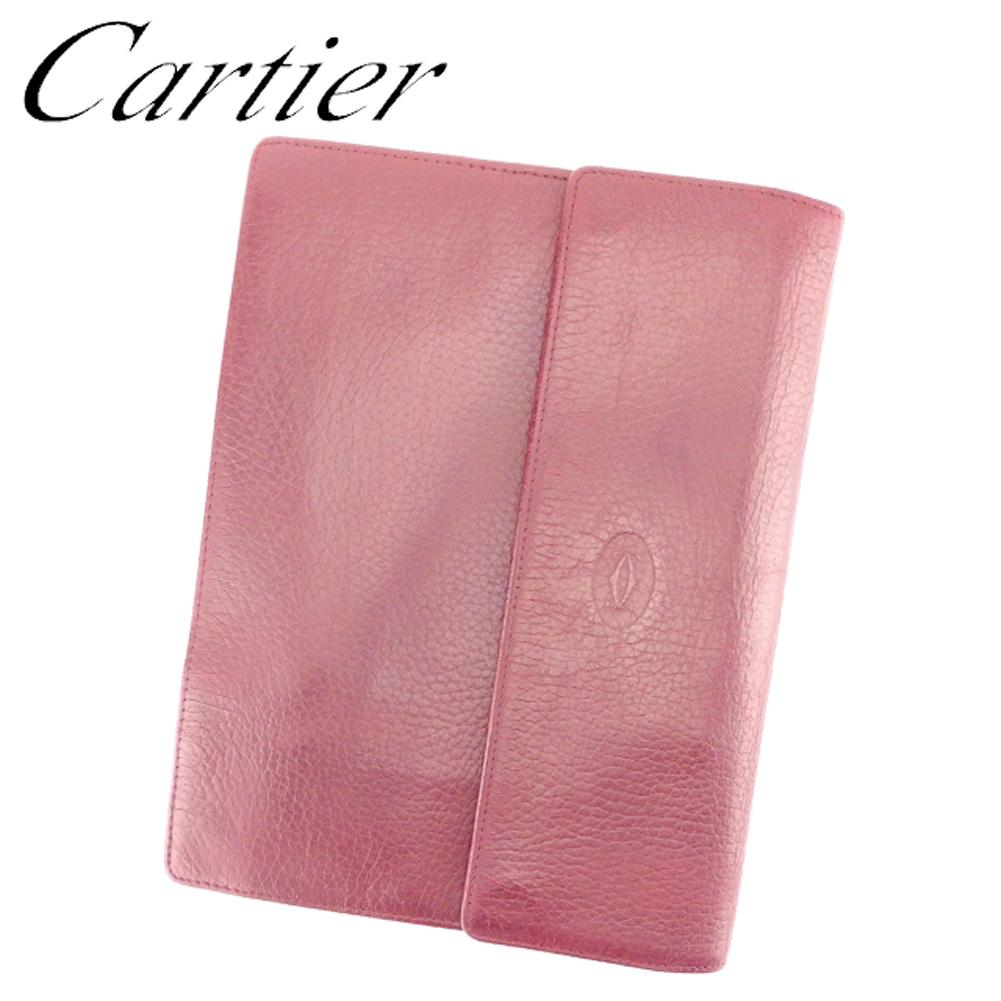 【中古】 カルティエ Cartier クラッチバッグ セカンドバッグ レディース メンズ 可 多機能 マストライン ボルドー ゴールド レザー 人気 セール T7030