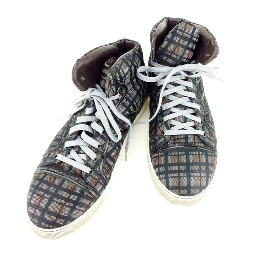【中古】 ランバン LANVIN スニーカー シューズ 靴 メンズ ♯10サイズ ハイカット チェック ブラック ブラウン グレー 灰色系 キャンバス×レザー 人気 セール T7031 .