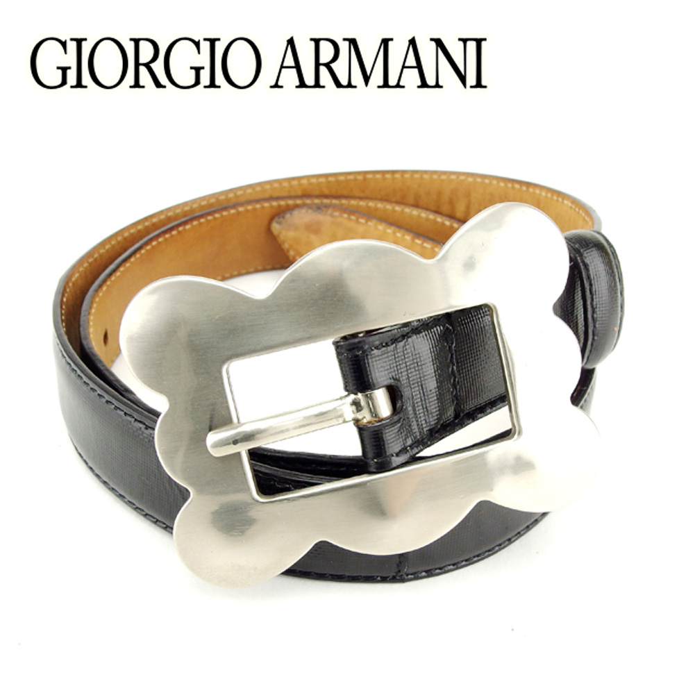 【スーパーSALE】 【20%オフ】 【中古】 ジョルジオ アルマーニ GIORGIO ARMANI ベルト シングルピン レディース ♯70 28サイズ ブラック シルバー コーティングレザー×シルバー金具 T7042