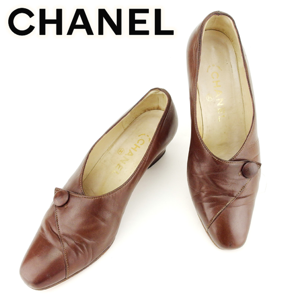 【中古】 シャネル CHANEL パンプス シューズ 靴 レディース ♯36 スクエアトゥ ブラウン レザー T7046