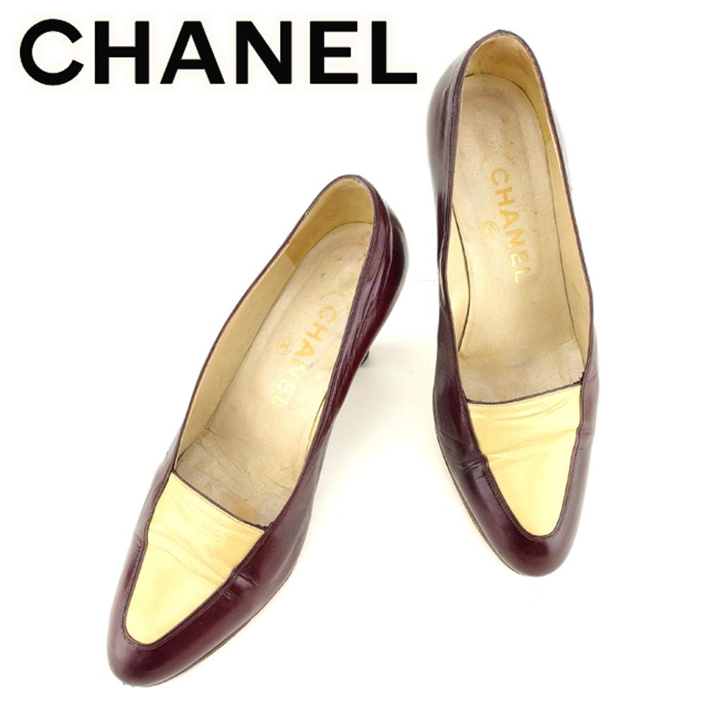 【中古】 シャネル CHANEL パンプス シューズ 靴 レディース ♯6 アーモンドトゥ ボルドー ベージュ レザー T7047