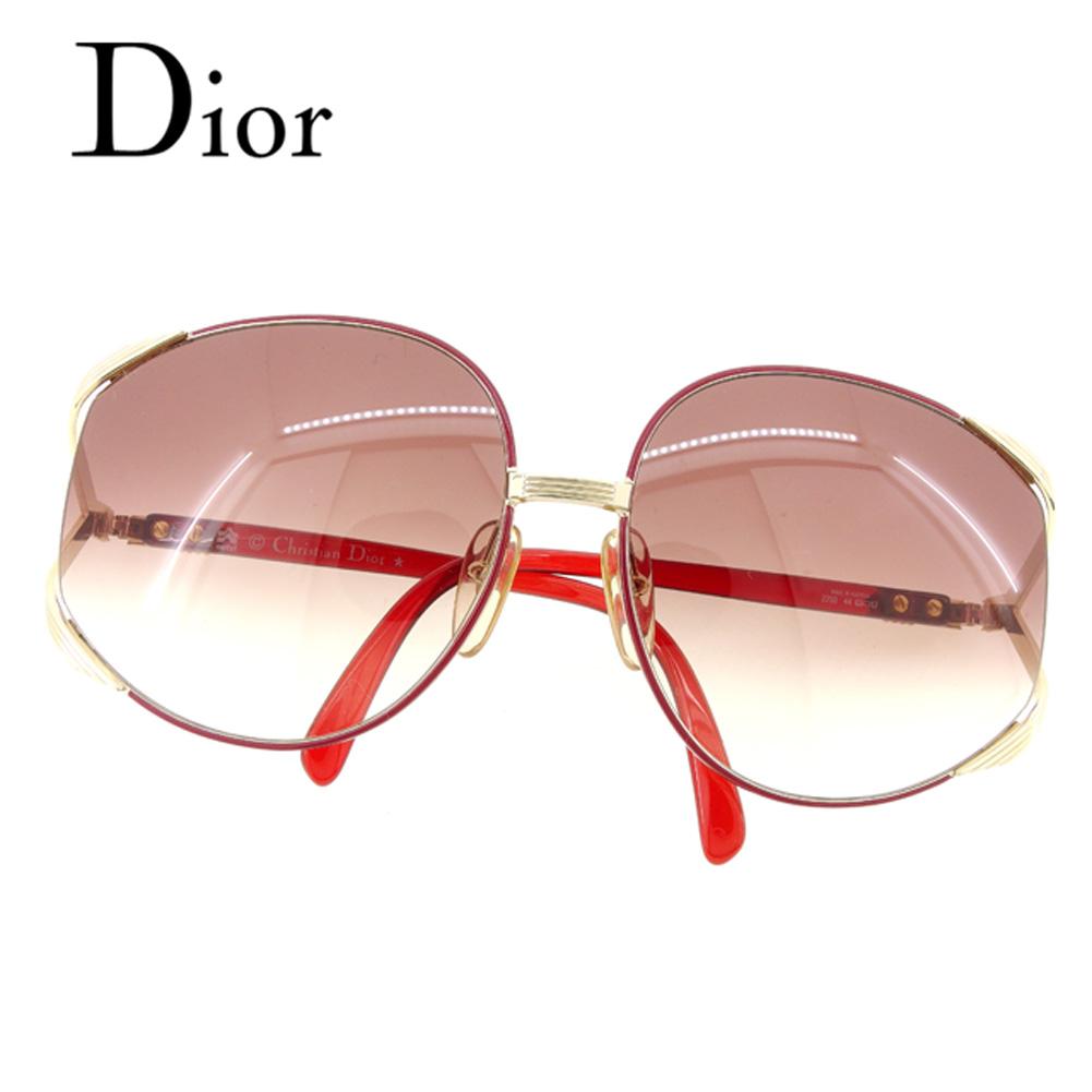 【中古】 ディオール Dior サングラス メガネ アイウェア レディース ヴィンテージ グラデーション レッド ゴールド ブラウン プラスチック×ゴールド金具 美品 セール T7053