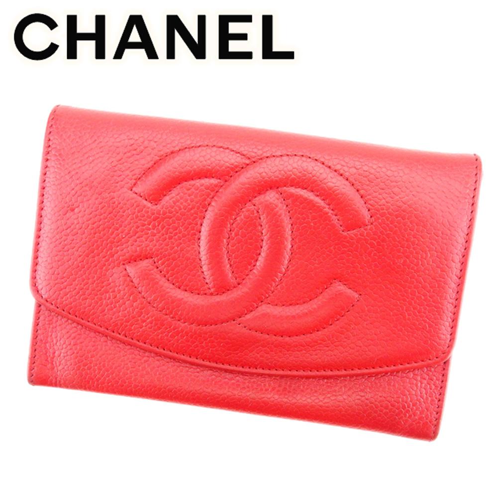 c809d6ad099f 【中古】 シャネル CHANEL 二つ折り 財布 ファスナー付き レディース シャネル ココマーク レッド ゴールド