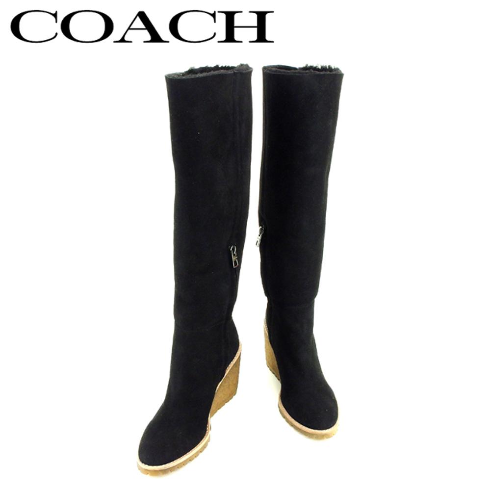 【中古】 コーチ COACH ブーツ シューズ 靴 レディース ♯38 キーリー ウェッジソール ブラック ベージュ シープスキン T7061 .