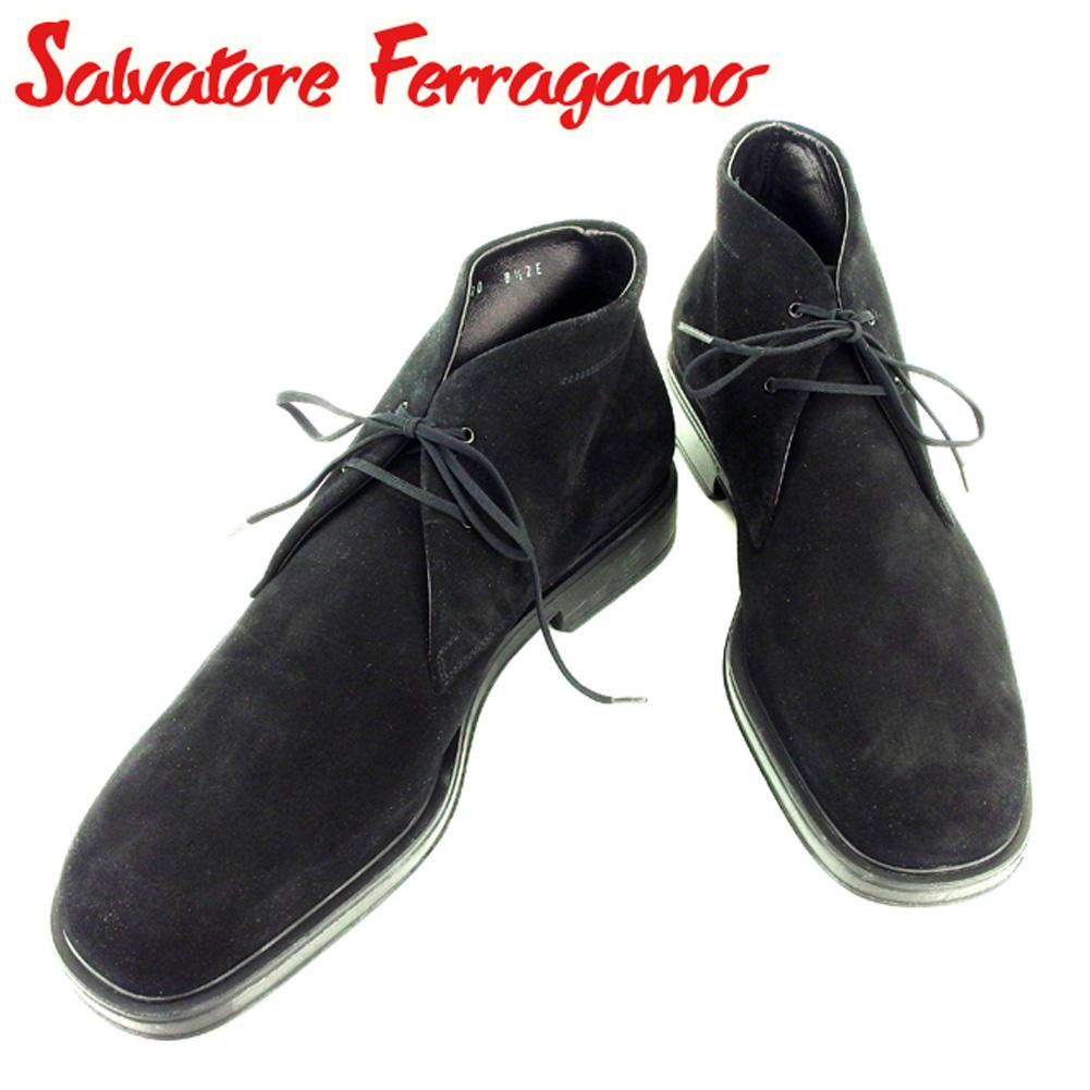 【中古】 サルヴァトーレ フェラガモ Salvatore Ferragamo ブーツ シューズ 靴 メンズ ♯8ハーフ2E チャッカ デザートブーツ ブラック スエード 美品 セール T7077 .