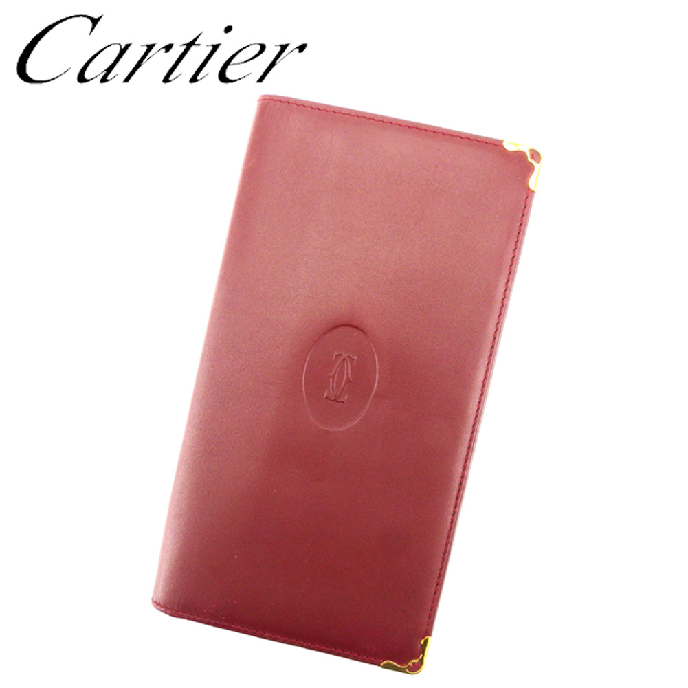【中古】 カルティエ Cartier 長札入れ 札入れ レディース メンズ 可 マストライン ボルドー ゴールド レザー 美品 セール T7080