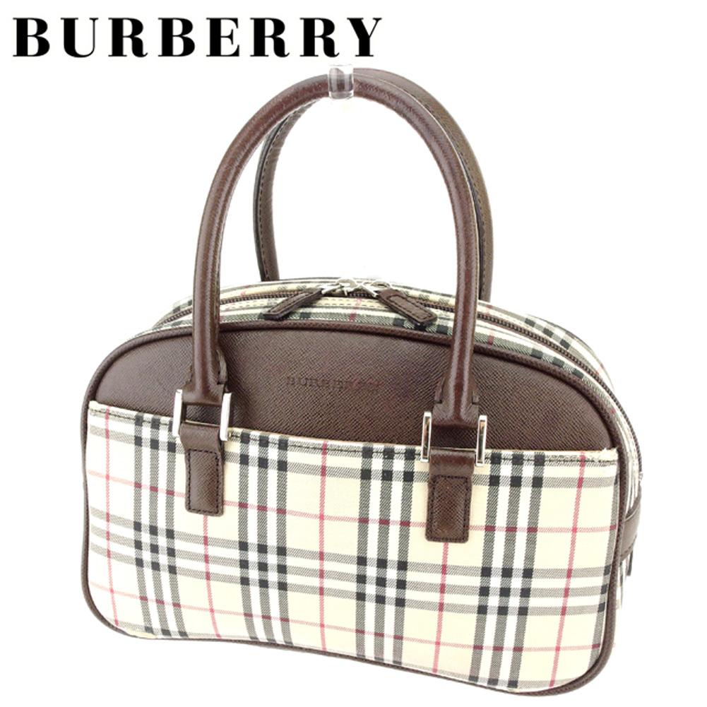 【中古】 バーバリー BURBERRY ハンドバッグ バッグ レディース メンズ 可 ノバチェック ベージュ系 ブラウン シルバー キャンバス×レザー 人気 セール T7082 .