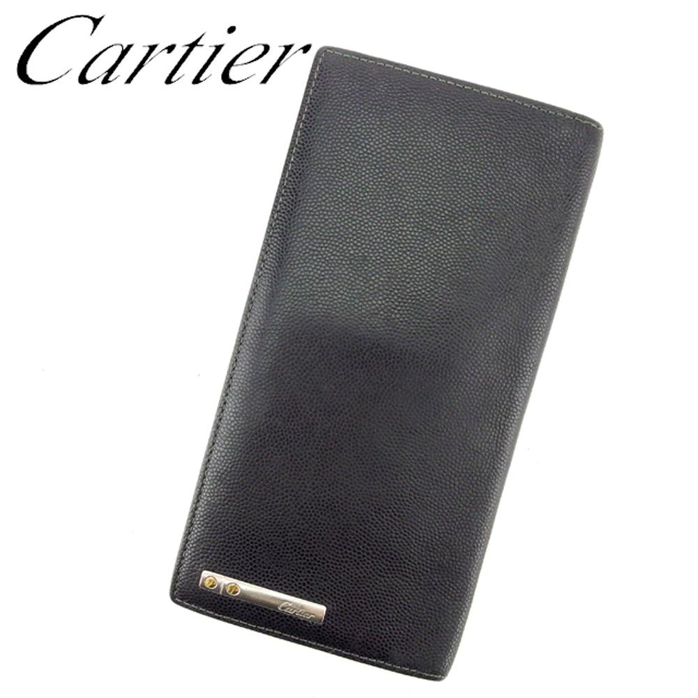 【中古】 カルティエ Cartier 長札入れ 札入れ メンズ ブラック シルバー ゴールド キャビアグレインカウハイド レザー T7084 .
