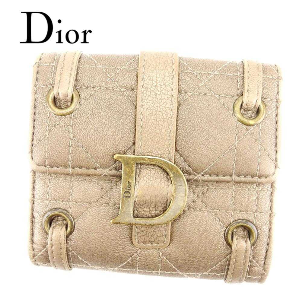【中古】 ディオール Dior Wホック 財布 二つ折り レディース カナージュステッチ レディディオール ブラウン ゴールド レザー 美品 セール T7085