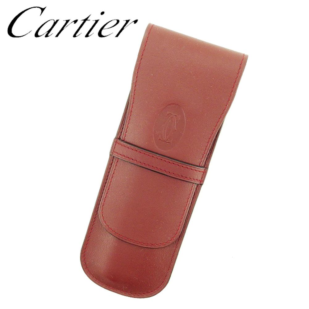 【中古】 カルティエ Cartier ペンケース ケース レディース メンズ 可 マストライン ボルドー レザー 美品 セール T7089