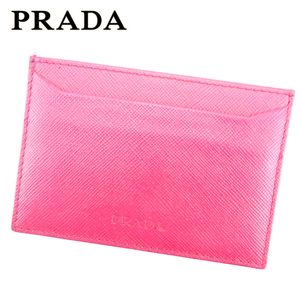 【中古】 プラダ PRADA カードケース パスケース レディース ロゴ ピンク サフィアーノレザー 人気 セール T7092 .