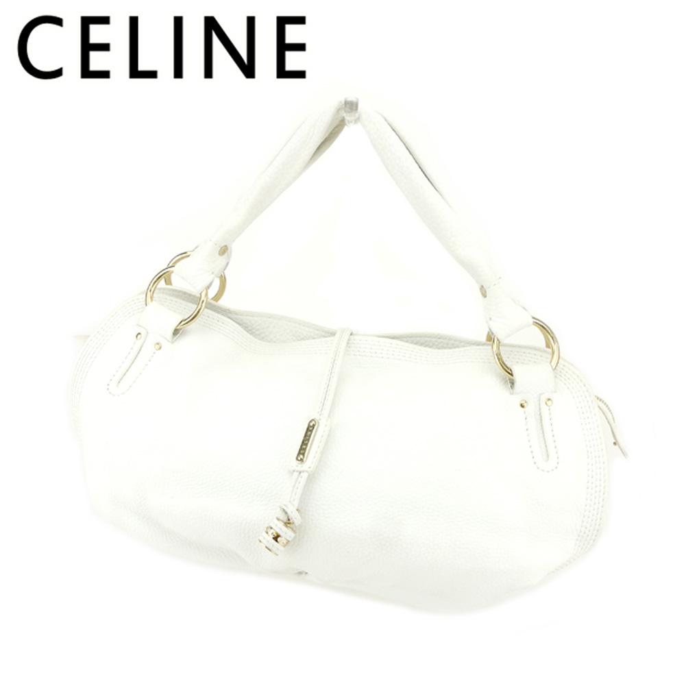【中古】 セリーヌ Celine ハンドバッグ バック バッグ バック ホワイト 白 ゴールド ロゴプレート レディース T7101s .