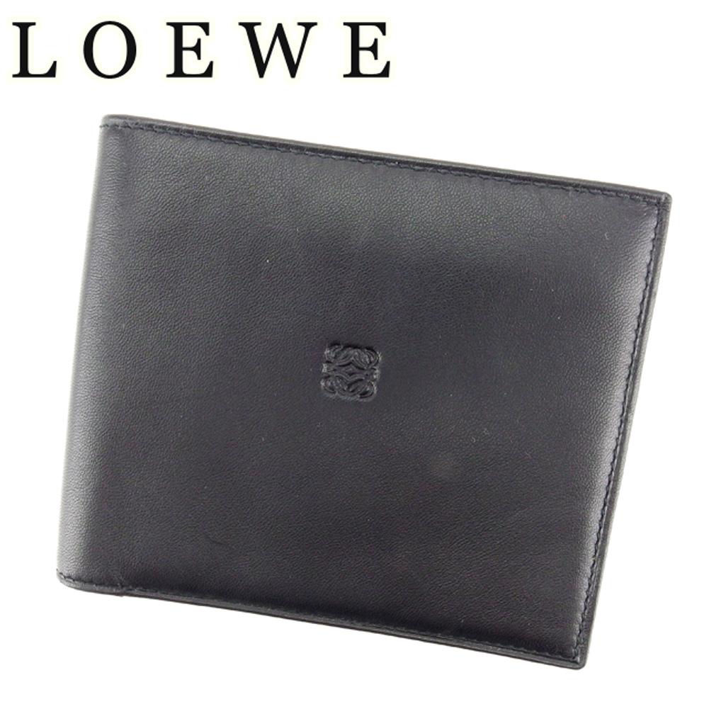 【中古】 ロエベ LOEWE 二つ折り 札入れ メンズ ブラック ラムレザー T7113
