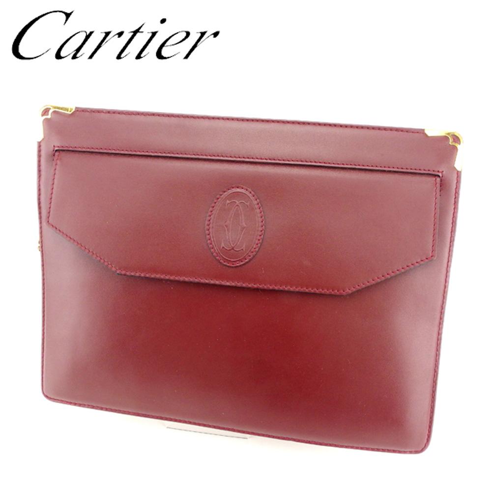 【中古】 カルティエ Cartier クラッチバッグ セカンドバッグ レディース メンズ 可 マストライン ボルドー ゴールド レザー 人気 良品 T7116