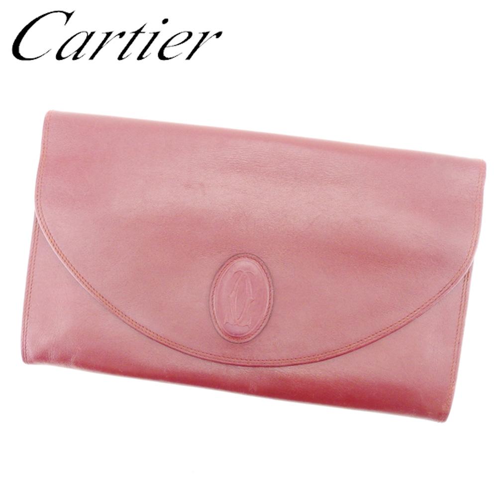 【中古】 カルティエ Cartier クラッチバッグ セカンドバッグ レディース メンズ 可 マストライン ボルドー レザー 人気 セール T7125
