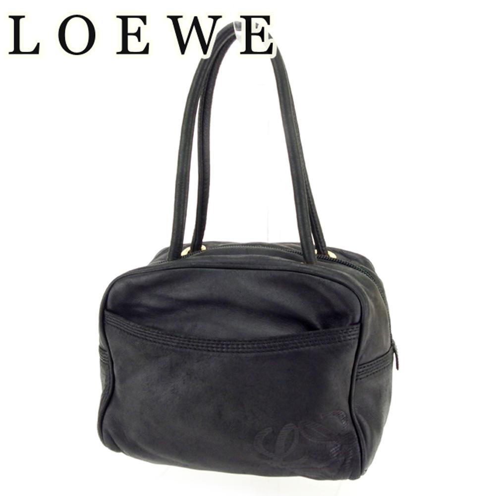 【中古】 ロエベ Loewe ハンドバッグ バック ミニバッグ バック ブラック ゴールド アナグラム レディース T7130s .