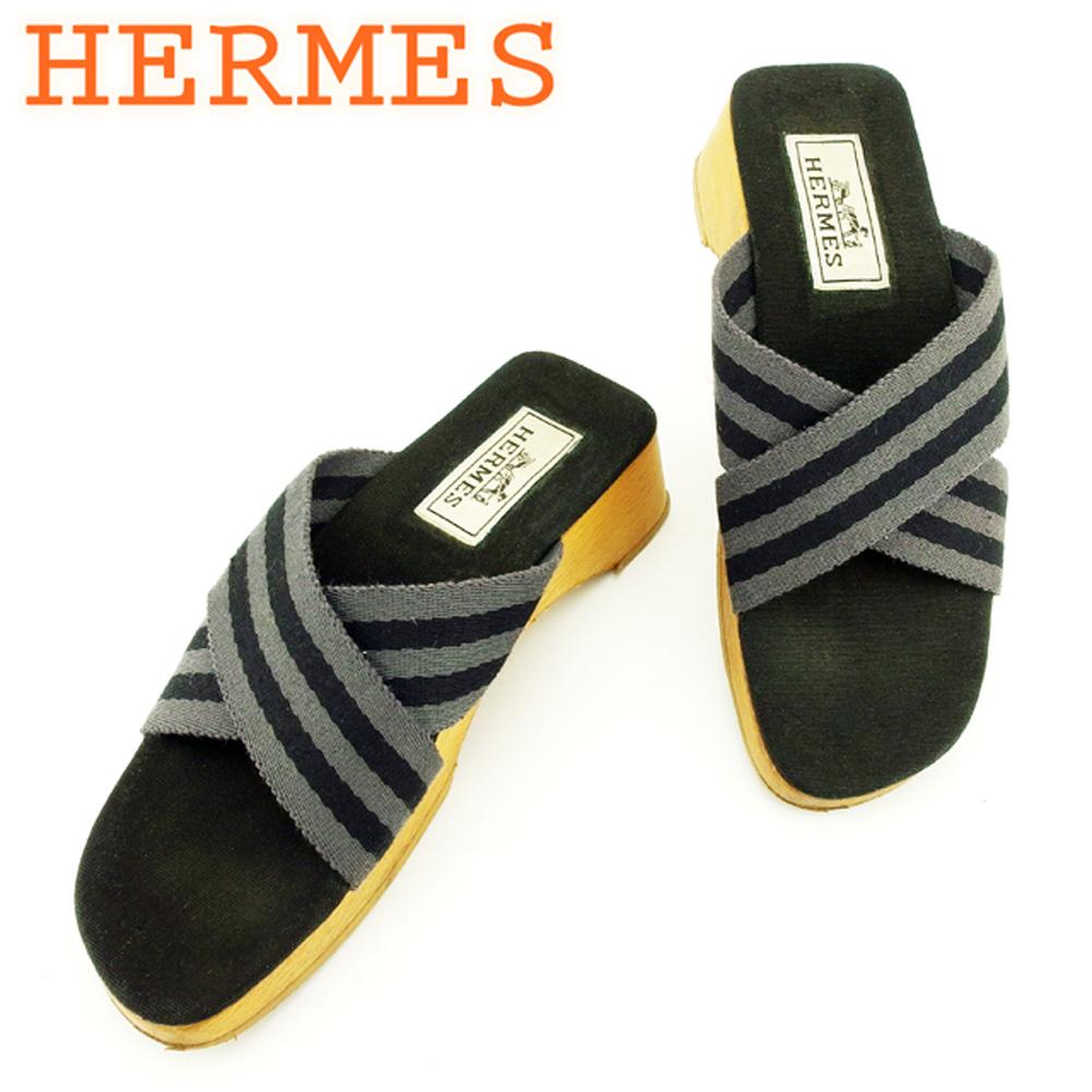【中古】 エルメス HERMES サンダル シューズ 靴 レディース ♯36 ウッドソール グレー 灰色 ブラック ベージュ キャンバス×ウッド T7134