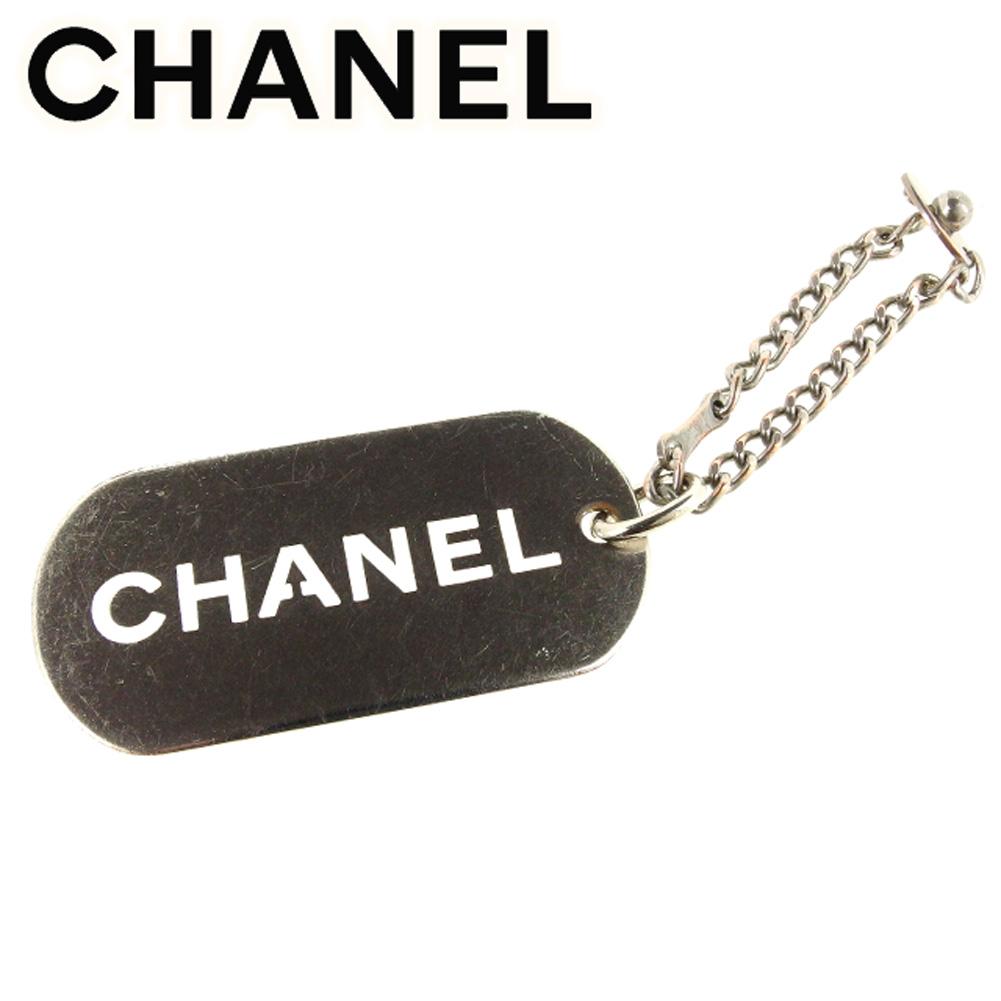 【中古】 シャネル CHANEL キーホルダー チャーム レディース メンズ 可 オールドシャネル ロゴプレート シルバー シルバーメッキ ヴィンテージ 人気 T7135 .