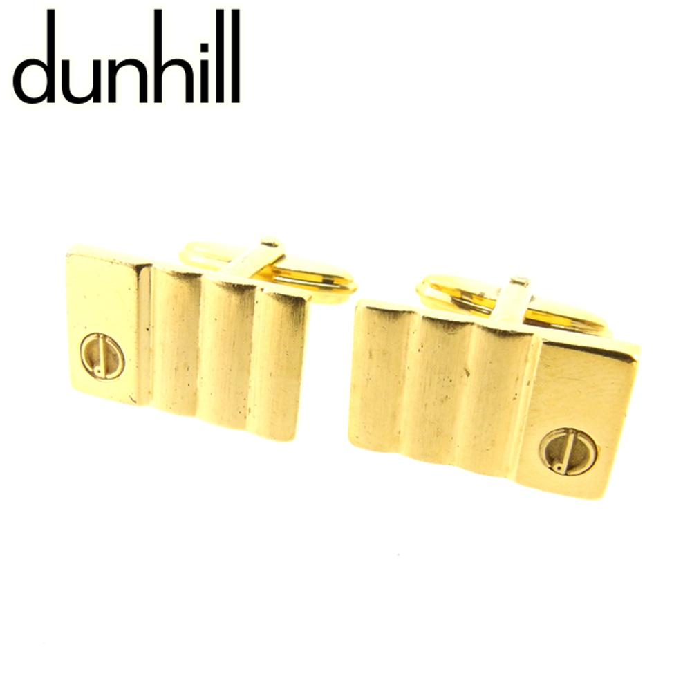 【中古】 ダンヒル dunhill カフス スウィヴル式 メンズ スクエアフォルム ゴールド ゴールドメッキ T7152 .