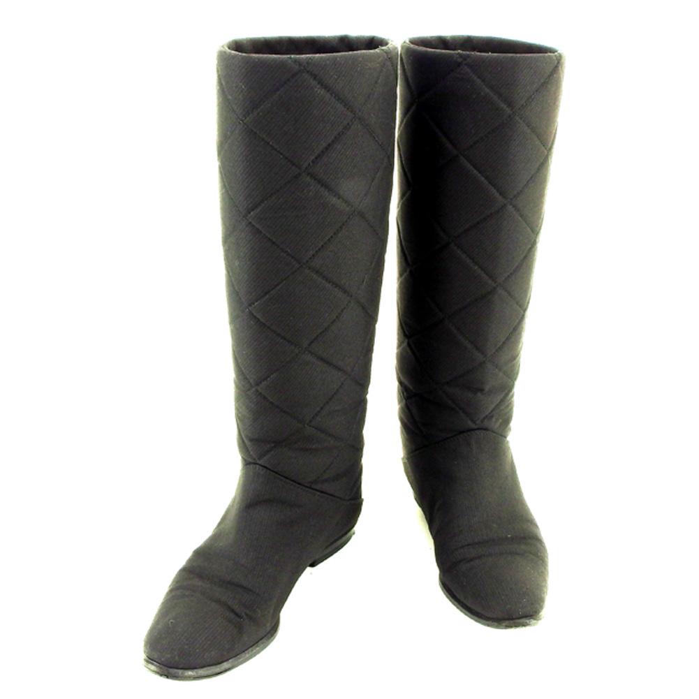 【中古】 ブルーノ マリ BRUNOMAGLI ブーツ シューズ 靴 レディース ♯36 ロング ブラック キャンバス×レザー T7154