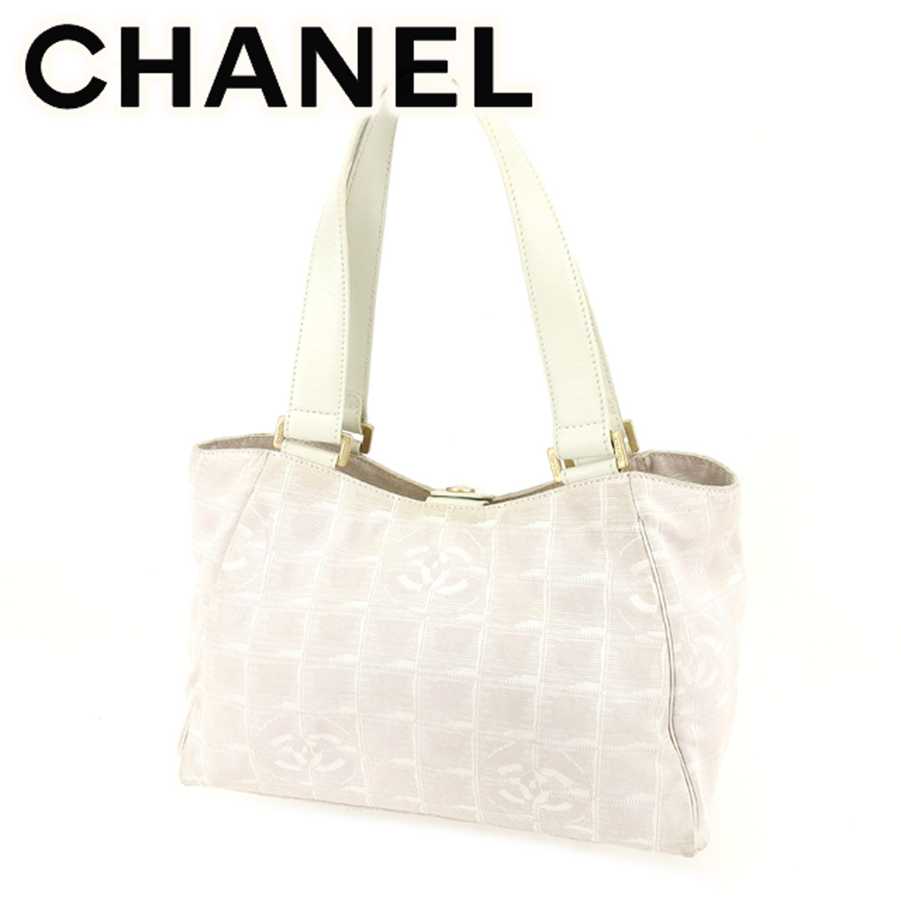 4f2f36978 Chanel CHANEL tote bag handbag men's possible current style bell line white  white pink canvas X ...