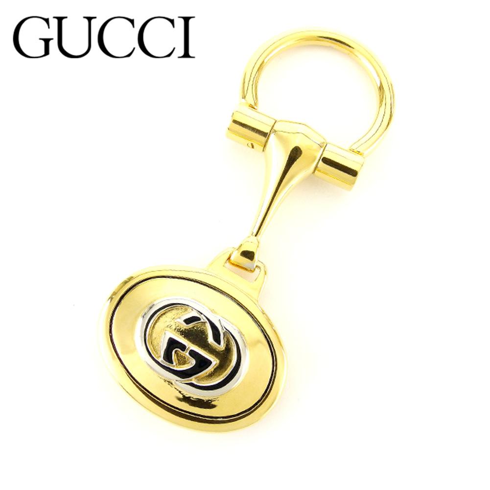 【中古】 グッチ Gucci キーホルダー キーリング レディース メンズ 可 インターロッキング ゴールド ヴィンテージ 人気 T7171 .