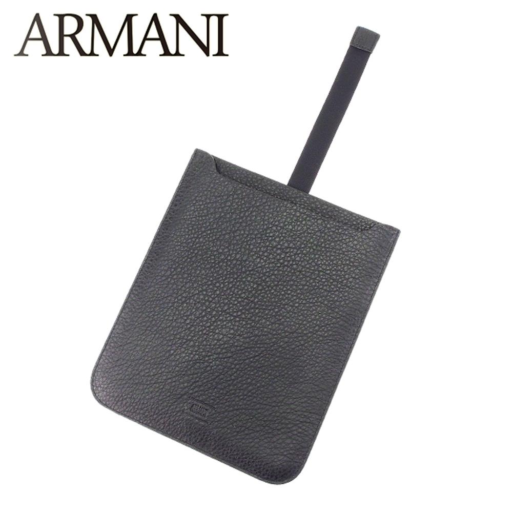 【中古】 アルマーニ コレツィオーニ ARMANI COLLEZIONI iPadケース アイパッドケース レディース メンズ 可  ブラック レザー 超美品 セール T7175 .