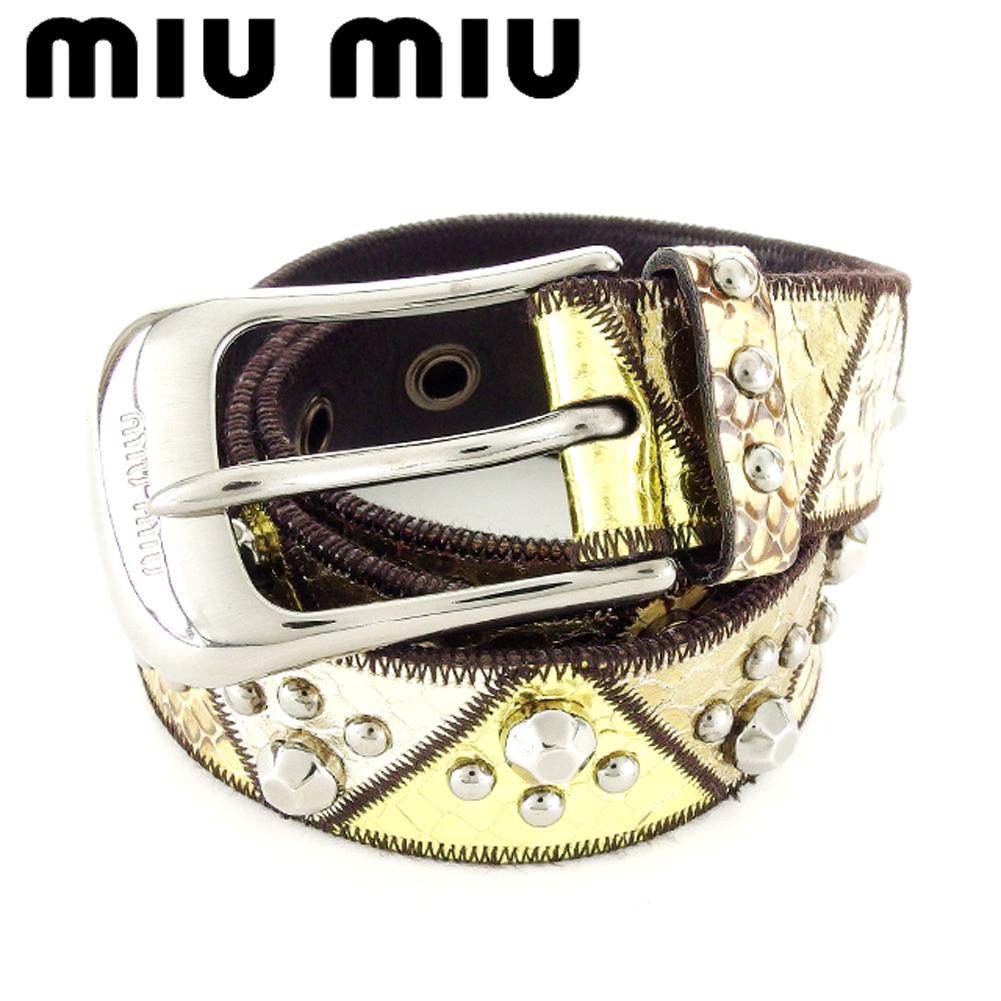 【中古】 ミュウミュウ miumiu ベルト レディース メンズ 可 パイソン型押し ゴールド ブラウン ベージュ シルバー レザー 人気 セール T7188