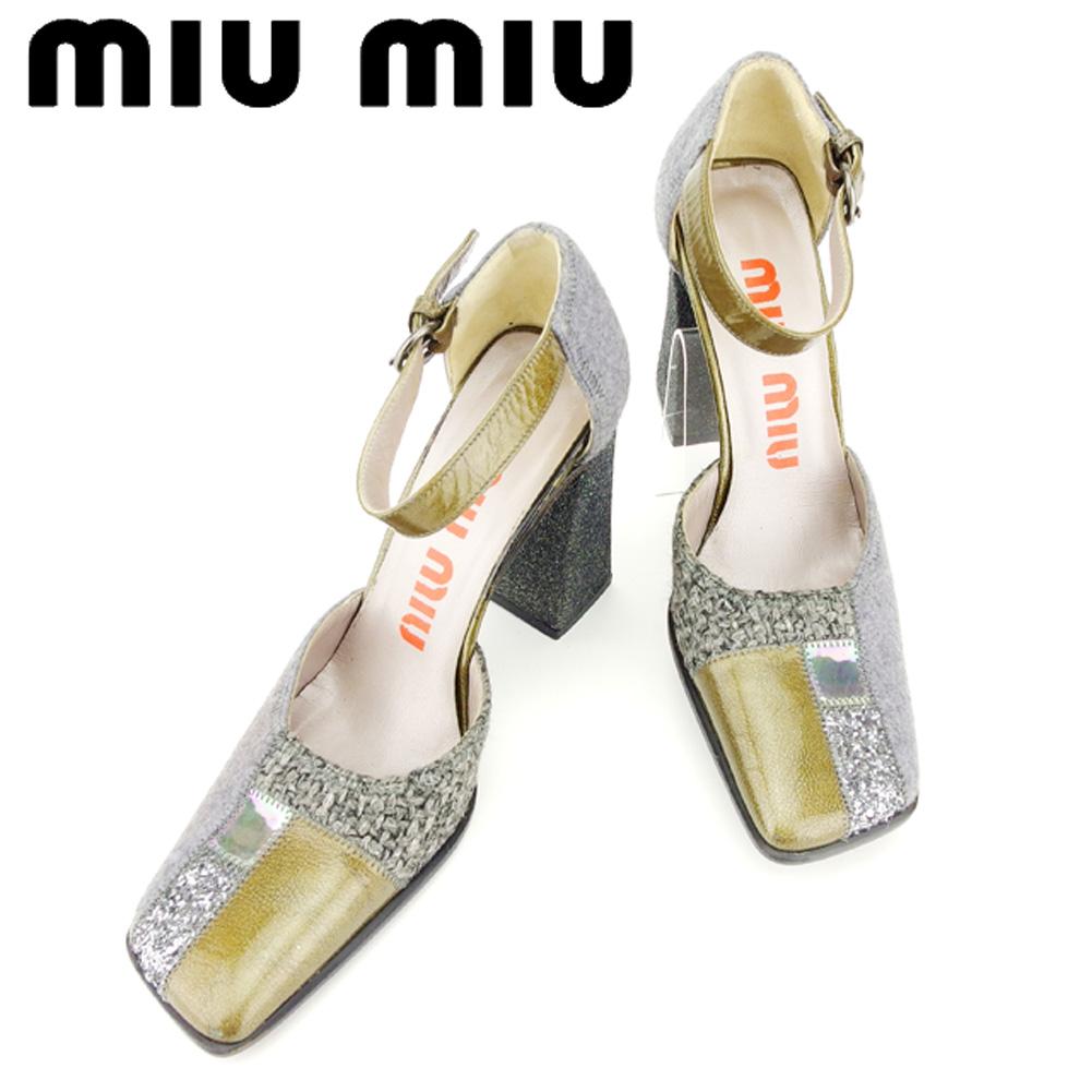 【中古】 ミュウミュウ miumiu パンプス シューズ 靴 メンズ可 #36サイズ グレー 灰色 ゴールド シルバー T7190