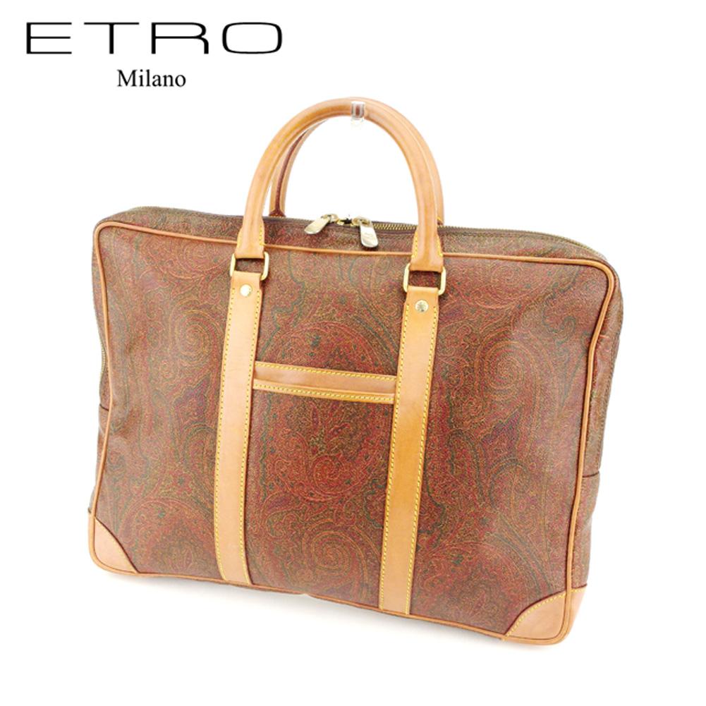 【中古】 エトロ ETRO ブリーフケース ビジネスバッグ レディース メンズ 可 ペイズリー ブラウン PVC×レザーブリーフケース T7192s
