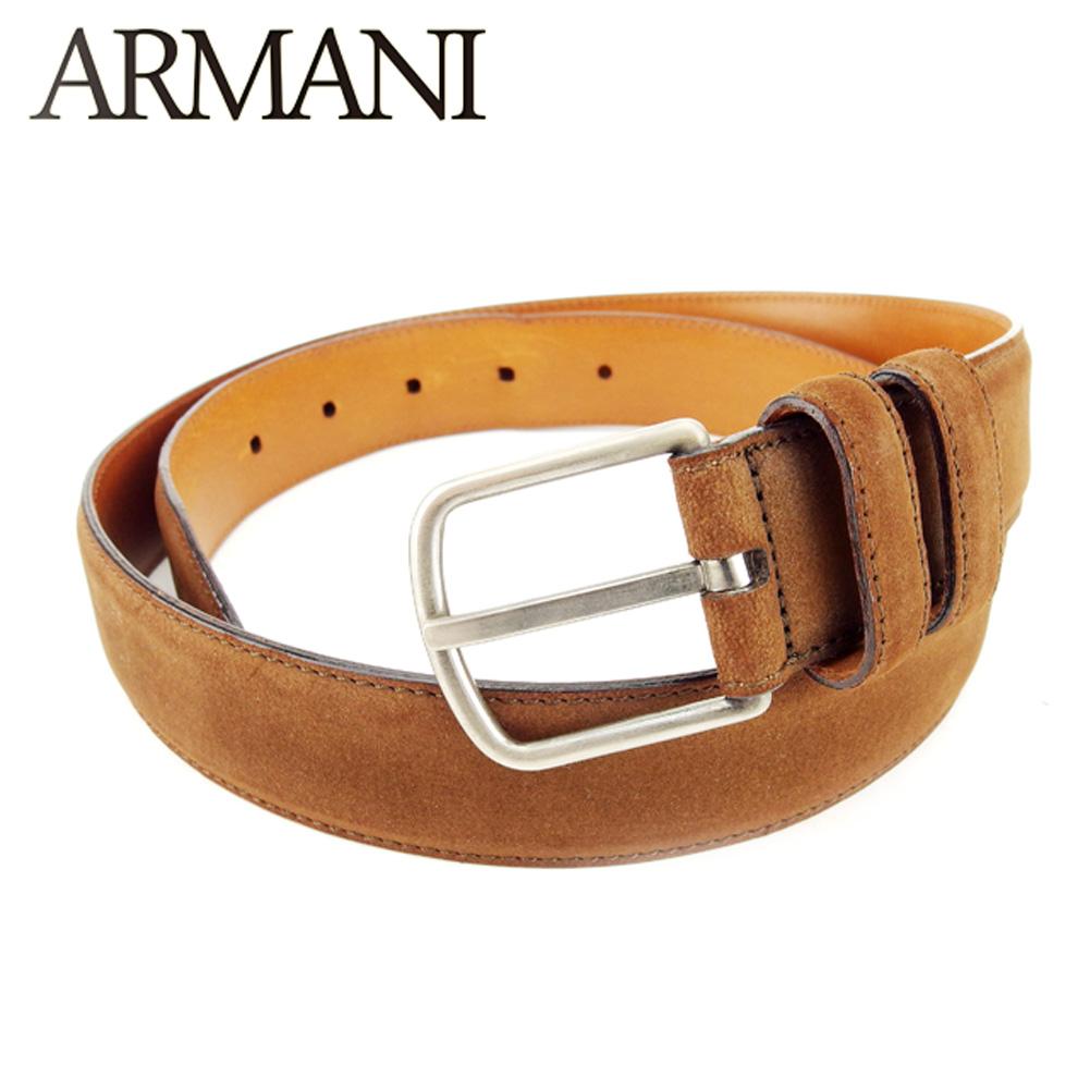 【中古】 ジョルジオ アルマーニ GIORGIO ARMANI ベルト レディース メンズ 可  ブラウン スエード 人気 セール T7196 .