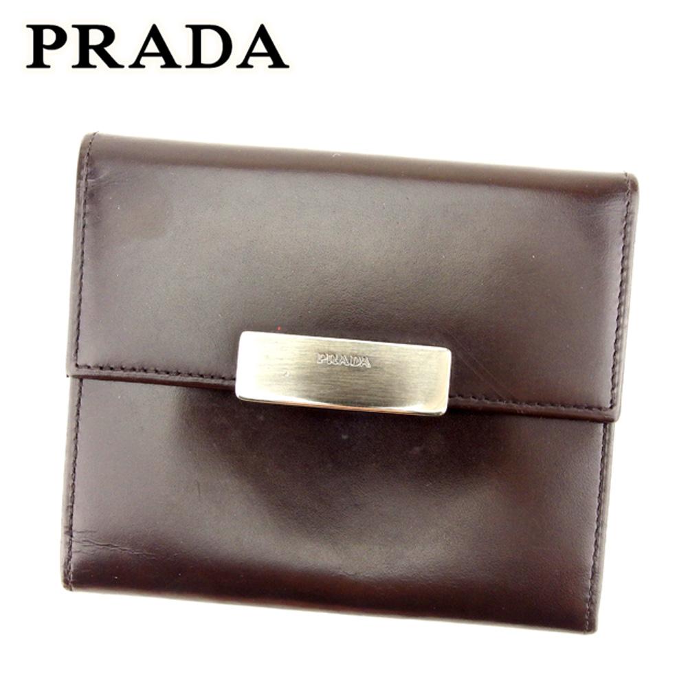 【中古】 プラダ PRADA コインケース カードケース レディース メンズ 可 ロゴプレート ブラウン レザー 人気 セール T7199 .