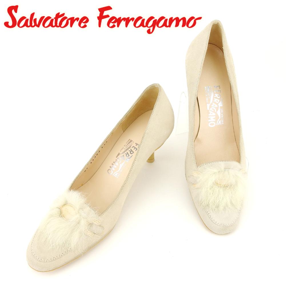 【中古】 サルヴァトーレ フェラガモ Salvatore Ferragamo パンプス シューズ 靴 レディース #6サイズ ファー ベージュ スエード 人気 セール T7211 .