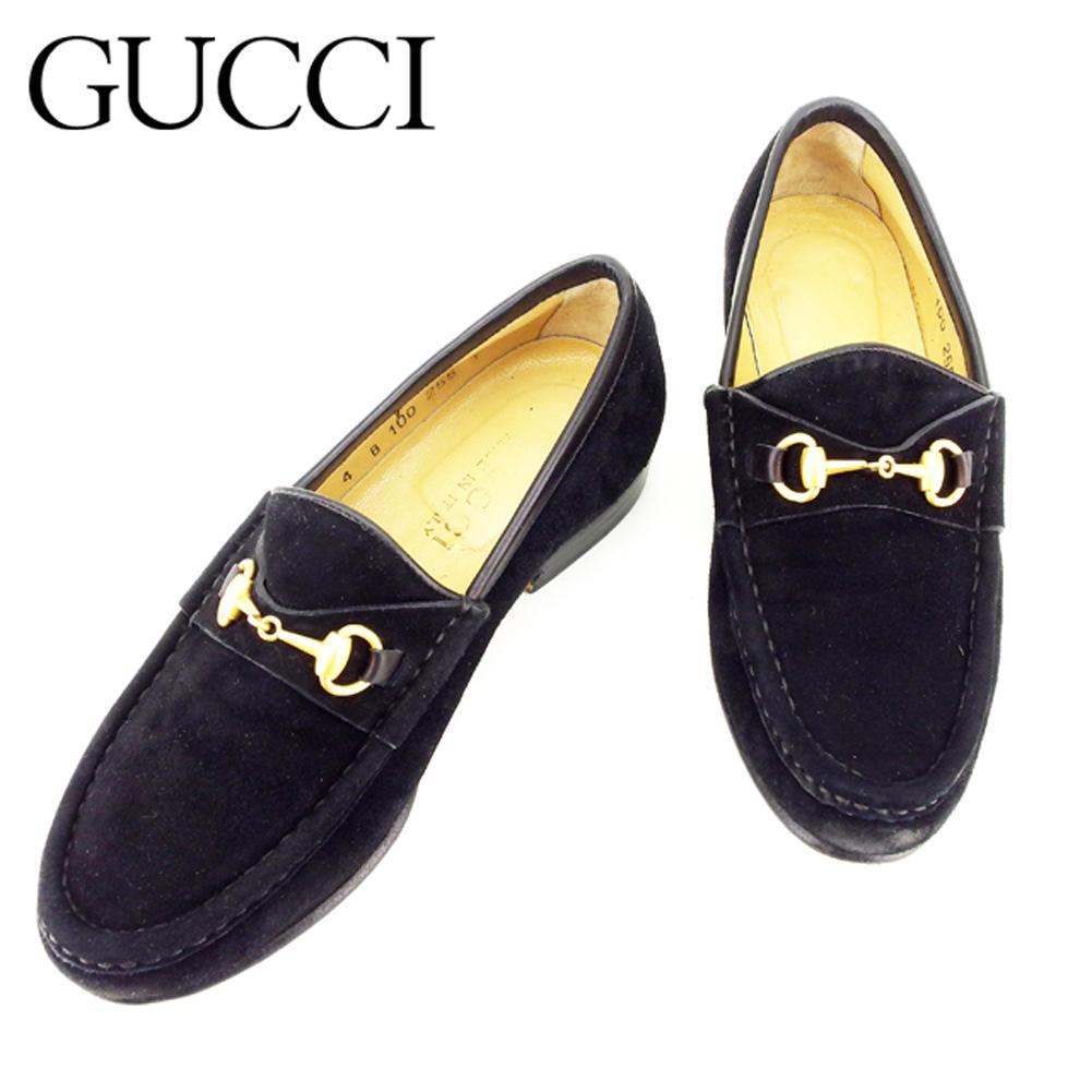 【中古】 グッチ Gucci ローファー シューズ 靴 レディース #4サイズ ビット金具 ブラック スエード 人気 セール T7213 .