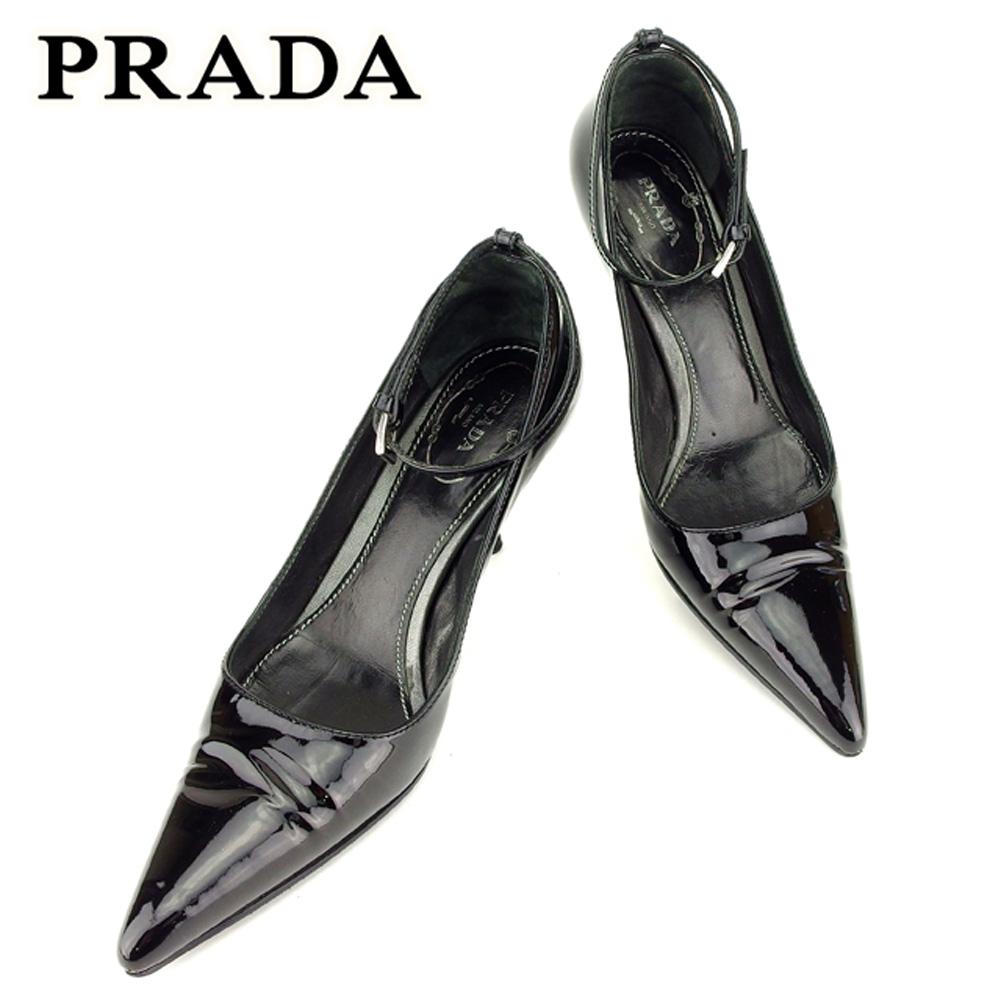 【中古】 プラダ PRADA パンプス シューズ 靴 レディース #34サイズ ブラック エナメルレザー T7214